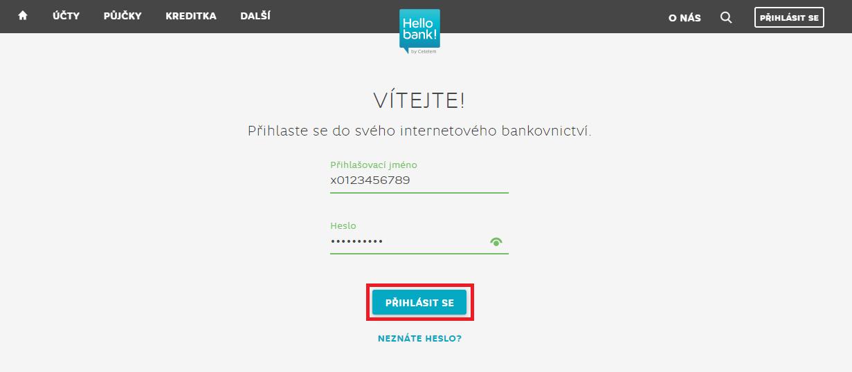 Hello bank internetové bankovnictví